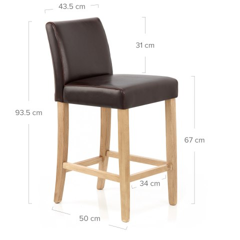 Stratos Oak Stool Brown Leather