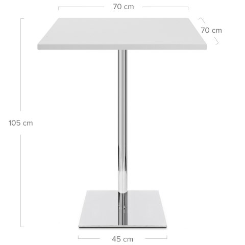 Carrera Square Bar Table White