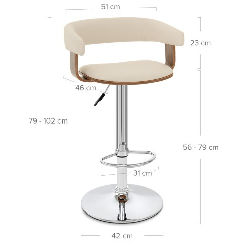 Orlando Bar Stool Cream & Walnut