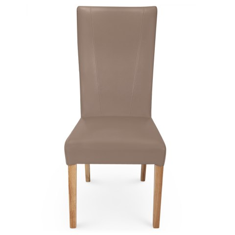 Marseille Madras Leather Dining Chair Taupe ...