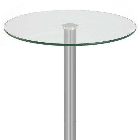 Vetro 105cm Brushed Steel Poseur Table