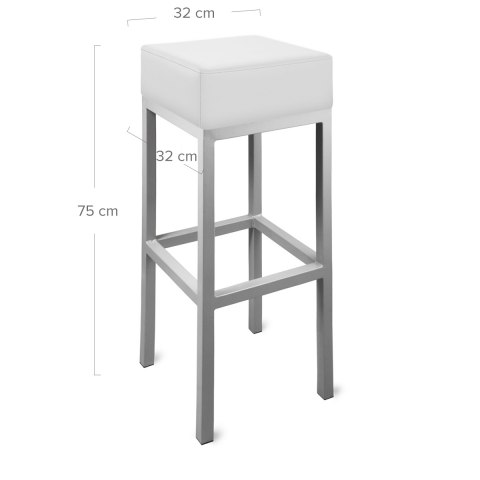 Cuboid Bar Stool White