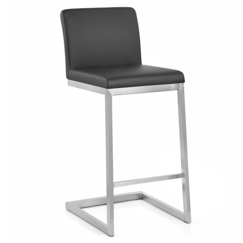 Ace Brushed Steel Stool Black