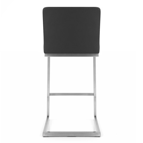 Ace Brushed Black Real Leather Stool