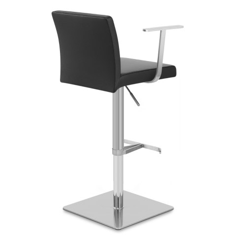 Lexi Brushed Steel Stool with Arms Black