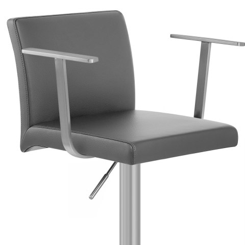 Lexi Brushed Steel Stool with Arms Grey
