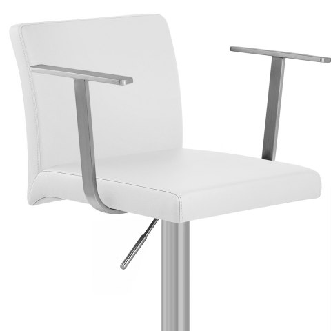Lexi Brushed Steel Stool with Arms White