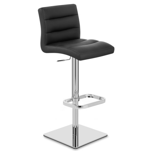 Lush Real Leather Chrome Stool Black