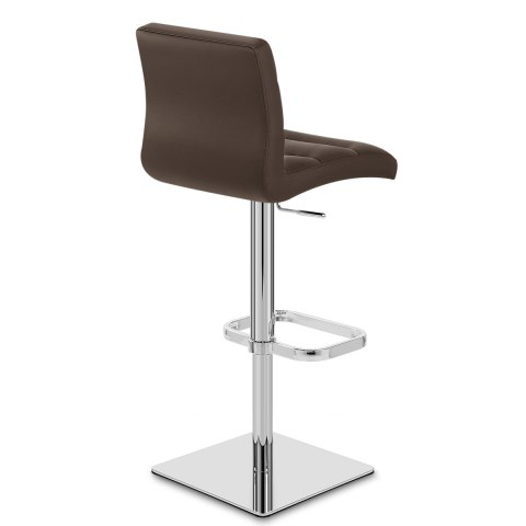 Lush Real Leather Chrome Stool Brown