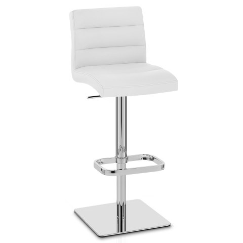 Lush Real Leather Chrome Stool White