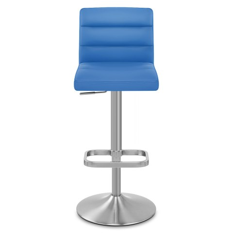 Lush Brushed Steel Bar Stool Blue
