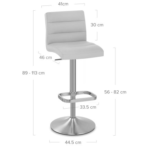 Lush Brushed Steel Bar Stool Grey