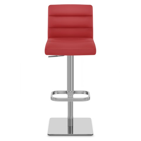 Lush Real Leather Brushed Stool Red