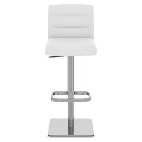 Lush Real Leather Brushed Stool White