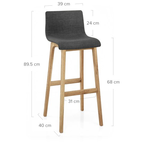 Drift Oak & Charcoal Fabric Stool