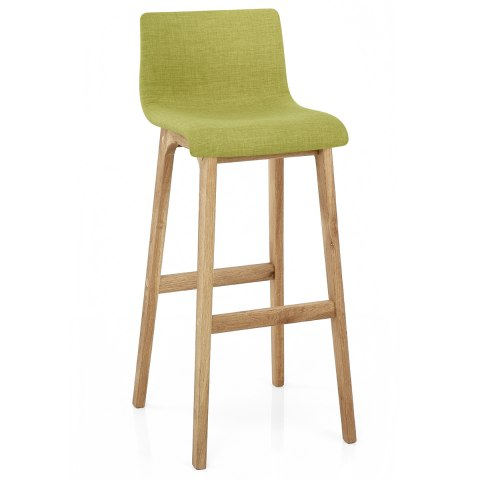 Drift Oak & Green Fabric Stool