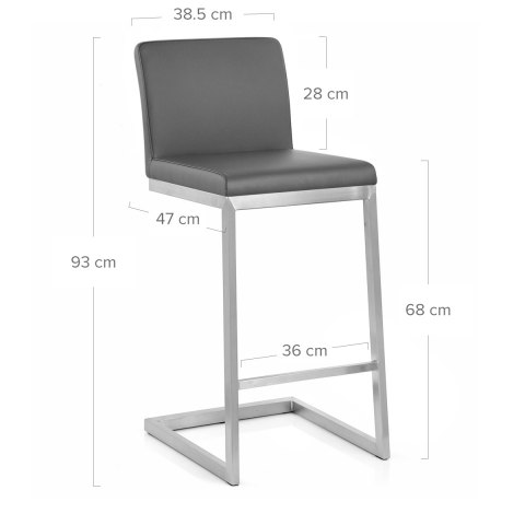 Ace Brushed Steel Stool Grey