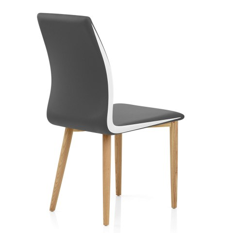 Kino Oak Chair Grey & White Sides