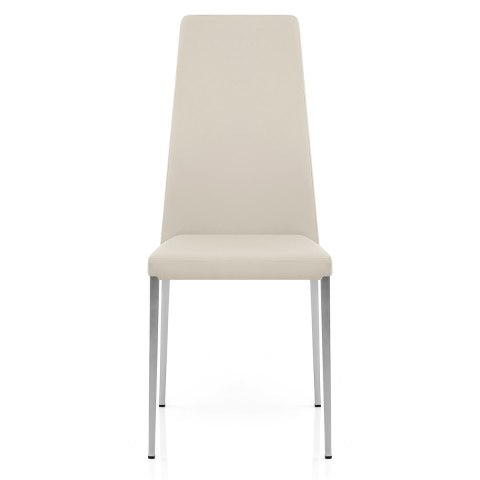 Faith Brushed Chair Cream Faux Leather