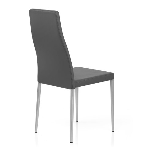 Faith Brushed Chair Grey Faux Leather