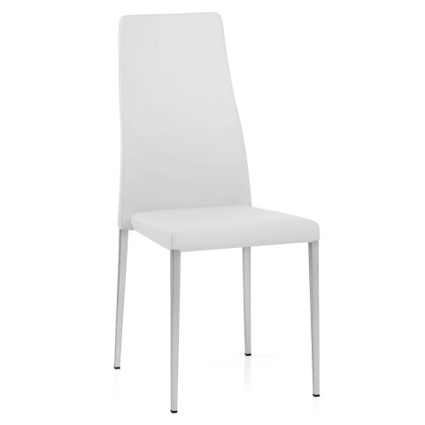 Faith Brushed Chair White Faux Leather