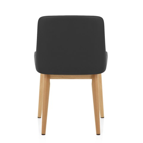 Jersey Chair Oak & Black Faux Leather