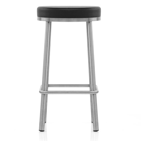 Vision Brushed Steel Stool Black