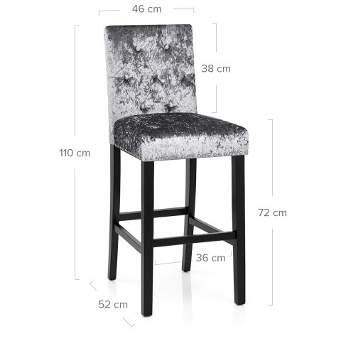 Barrington Bar Stool Grey Velvet