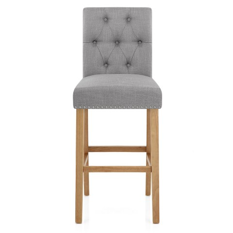 Barrington Oak Stool Grey Fabric