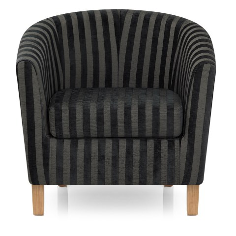 Tub Chair & Footstool Charcoal Stripe