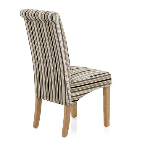 Roma Dining Chair Oak & Stripe