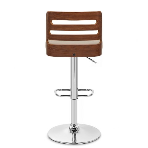 Muse Walnut Stool Beige Fabric
