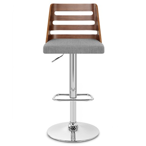 Muse Walnut Stool Grey Fabric