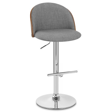 Focus Walnut Stool Grey Fabric