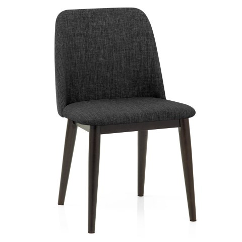 Elwood Walnut Dining Chair Charcoal Fabric