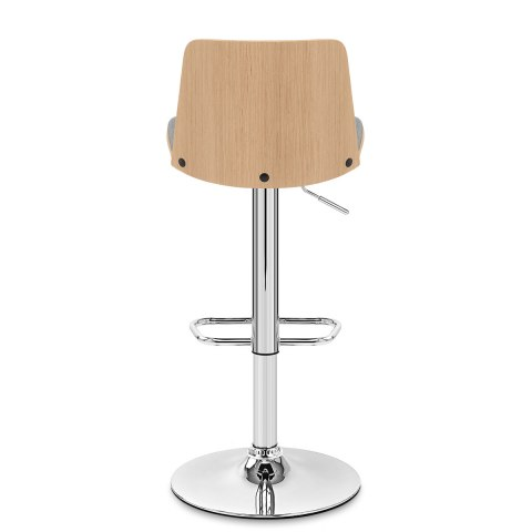 Crest Oak Stool Grey Fabric