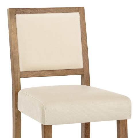 Jasper Oak Stool Cream Velvet