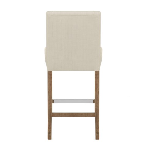 Chartwell Wooden Stool Cream Fabric