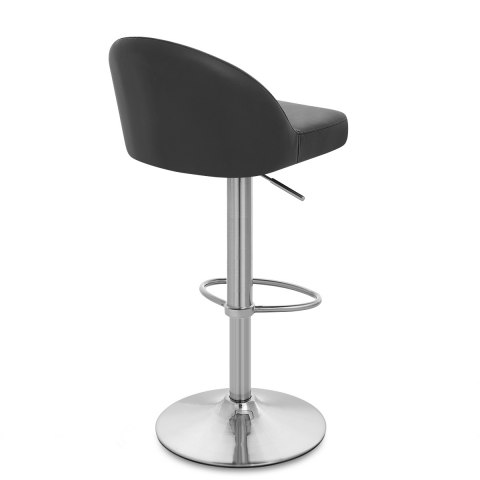 Mimi Brushed Steel Stool Black