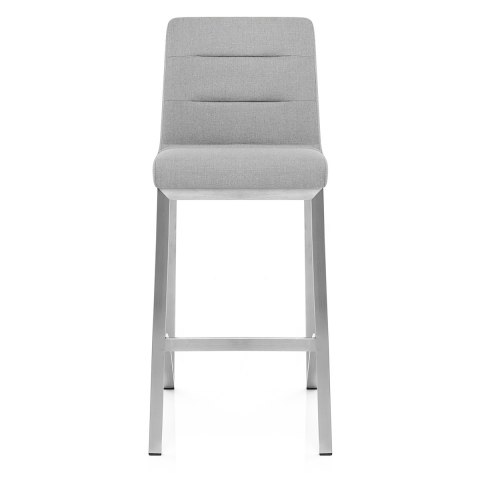 Stella Brushed Steel Stool Grey Fabric