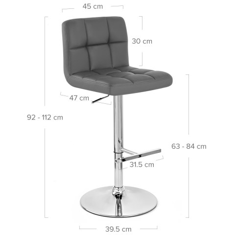 Grid Bar Stool Grey