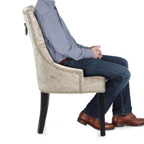 Ascot Dining Chair Beige Velvet Atlantic Shopping