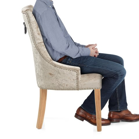 Ascot Oak Dining Chair Beige Velvet