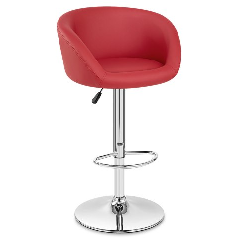 Red Faux Leather Eclipse Stool