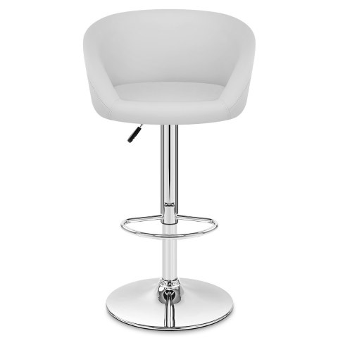 White Faux Leather Eclipse Bar Stool