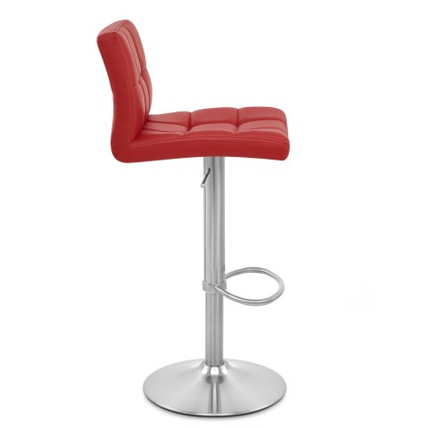 Starz Brushed Real Leather Stool Red
