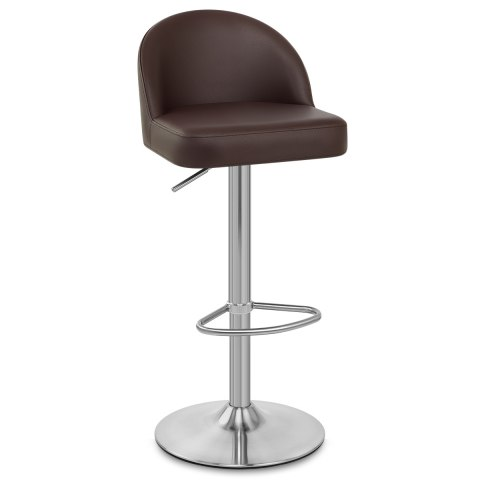 Mimi Brushed Steel Stool Brown