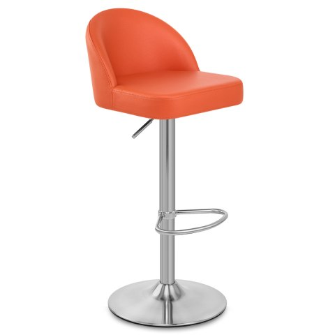 Mimi Brushed Steel Stool Orange