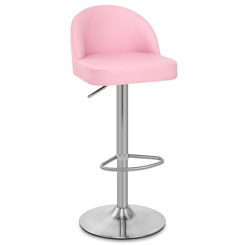 Mimi Brushed Steel Stool Pink