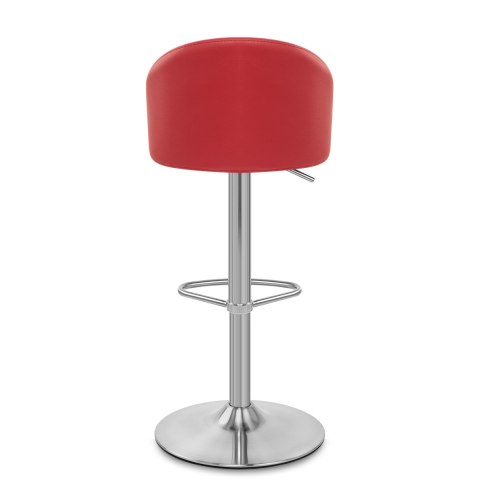 Mimi Brushed Steel Stool Red